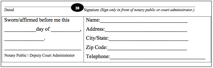 Expungement Petition Notary Signature Block