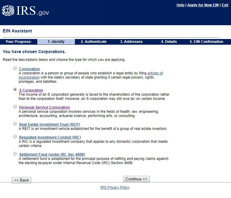 IRS.gov EIN page: Personal Service Corporation vs. S Corporation